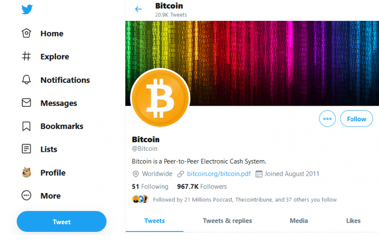 Bitcoin Twitter Address