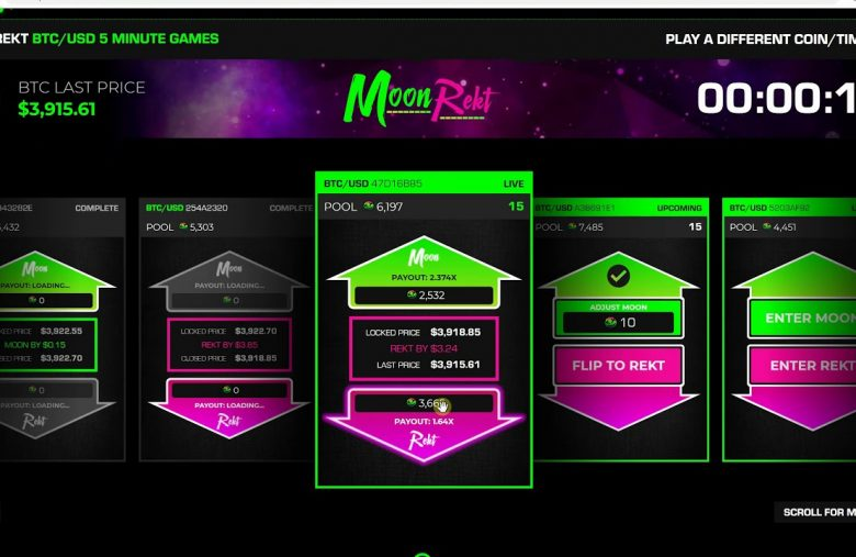 The crypto betting game, Moonrekt, now accepts bets in Bitcoin (BTC)