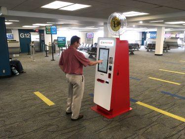 A Bitcoin ATM at Miami International Airport