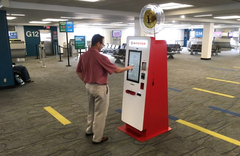 A Bitcoin ATM at Miami International Airport