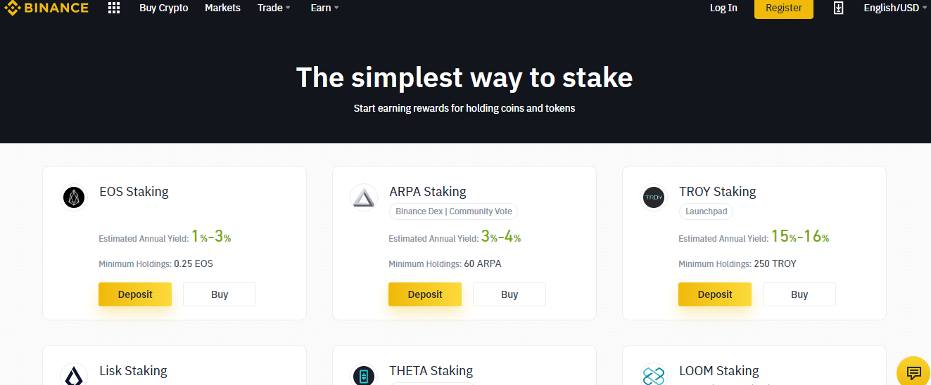 binance staking to stake crypto