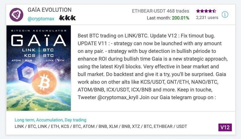 Gaia-evolution-trading-Binance-live