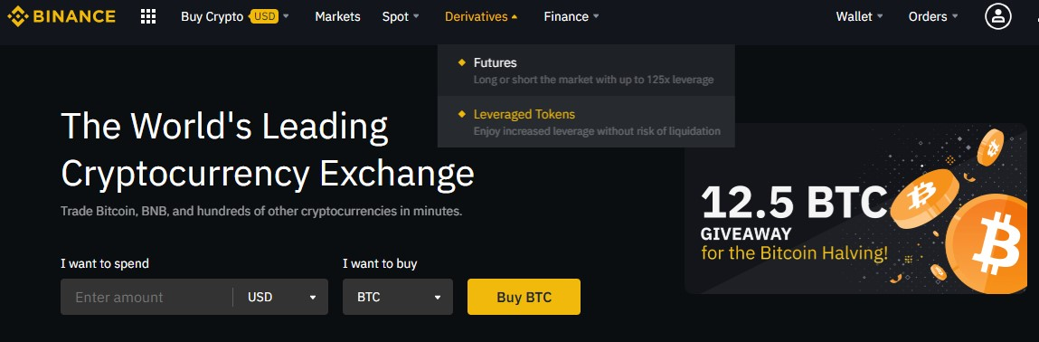 Leveraged tokens access on Binance