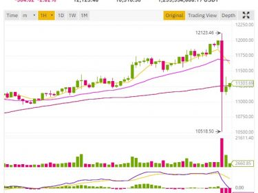 Flash crash of the Bitcoin price from 12,123 to 10,518 dollars