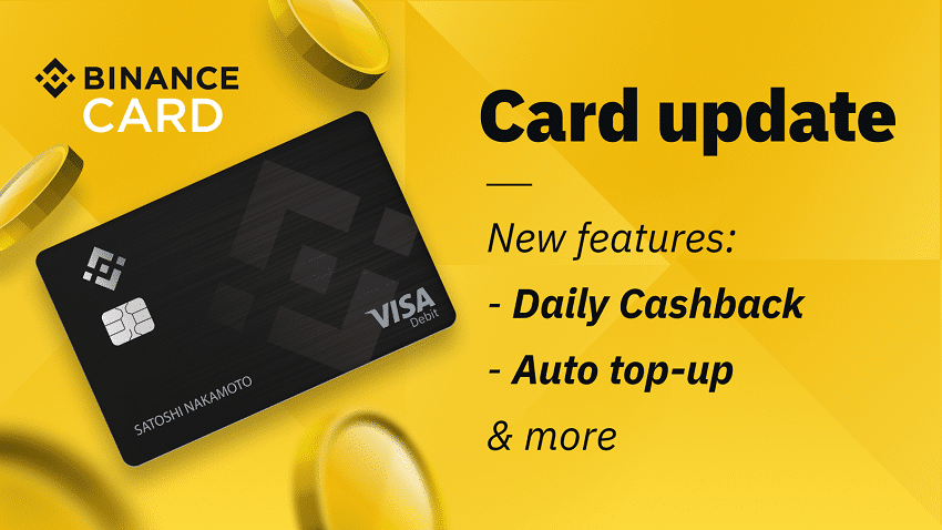 Binance Card adds daily cashback and automatic top-up