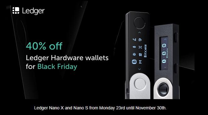 Black Friday deals & promotion 40% off Ledger crypto wallets