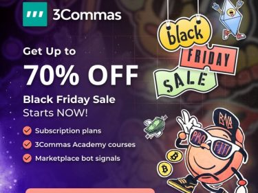 Black Friday promotion on 3Commas crypto trading bots 70% discount on subscriptions